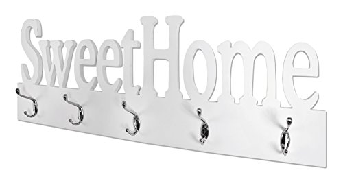 HAKU Möbel 28306 Wandgarderobe, Holz, weiß  chrom, 7 x 74 x 28 cm