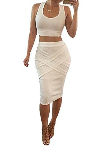 ALAIX Damen Kleidanzug Midi Rock zweiteiler sexy schlanke geschnittenes Bandage