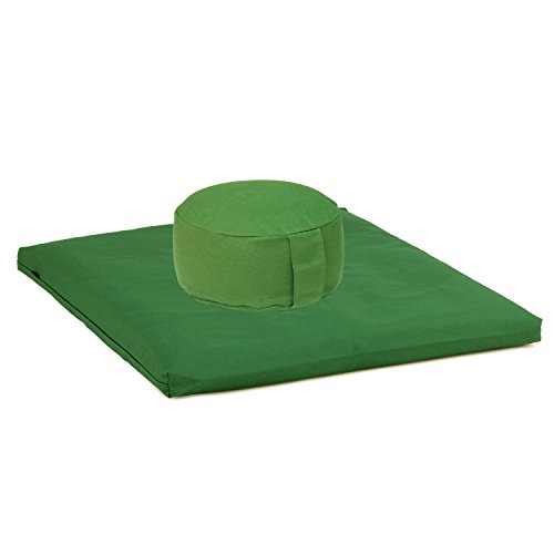 Medi-Set Basic I: Meditationskissen RONDO BASIC (Dinkel) und Meditationsmatte ZABUTON BASIC, olive/grün, Meditationszubehör, Meditationsunterlage 80 x 80cm