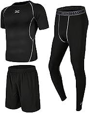 AioTio 3PCS Men's Sports Clothing Sets,Men's Sportswear Quick Dry Fitness Workout Suits,Compression Le