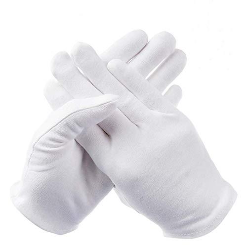 Baumwollhandschuhe Weiß, Netspower 12 Paar Elastisch Baumwolle Handschuhe Arbeitshandschuhe, Bequem und Atmungsaktiv, Universalgröße
