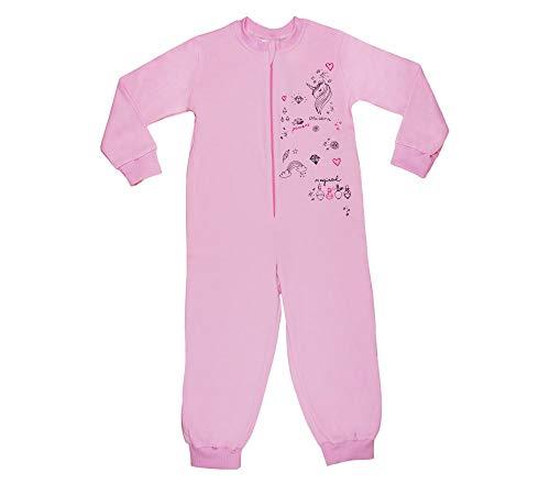 Unicorn Kinder-Schlafanzug Schlafoverall Wanzi Onsie für Mädchen in Rosa oder Grau, 100% Baumwolle, Pyjama-Set mit Pferd, Einteiler Overall, Kuscheloverall mit Einhorn Größe 128 (Kinder Schlafanzug Onsie)