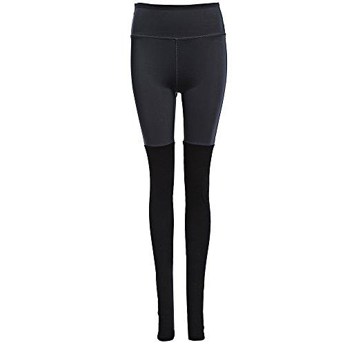 XU-XIAZHI,Frauen Sport Yoga Fitness Laufen elastische Hosen(color:SCHWARZ UND GRAU,size:M)