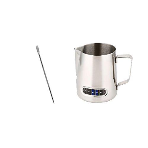 Barista 1 Licht (MagiDeal 600ml Milchkännchen, Milk Pitcher Edelstahl Milch Schalen für Milchaufschäumer Craft Kaffee Latte Milch Aufschäumen Krug Mit Integriertem Thermometer und mit Latte Schaum Kunst Stift Set)