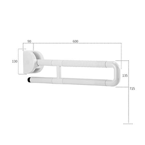 SSRS FaltenStainless Steel Anti-Rutsch-Barrierefreier Old Man Barrier-frei Urinal Handlauf/Safety Support Doppelrohr-Schiene - Drop-Down & Folds Up (Color : White, Size : 60cm) - Frauen Honey Drops