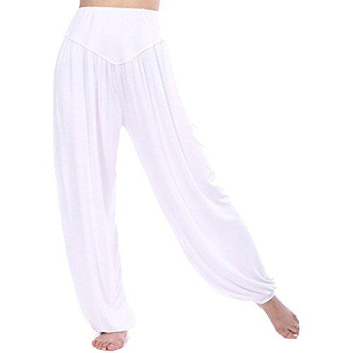 MEISHINE® Damen Modal Elastisch Haremshose Pluderhose Pumphose Ideal für Sport Yoga Tanz Jogging Dance (Size M, Weiß)