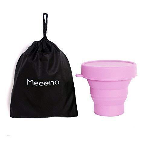Meeeno Menstruationstasse Aufbewahrung, Sterilisierbecher für Menstruationstasse, aus Medizinischem Silikon, 170ml, -40°C - 220°C, Faltbar (Hellrosa)