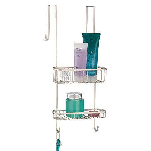 Mdesign portaoggetti per doccia da appendere all'anta del box doccia – pratica mensola doccia in metallo resistente – ideale per accessori per doccia – argento opaco