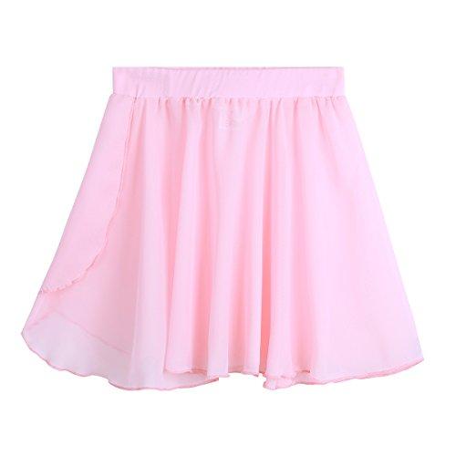 iixpin Kinder Ballett Wickelrock Mädchen Ballett Chiffon Rock Kleider lockerluftiger Ballettrock in lila, blau, rosa, schwarz Rosa 4-5 (Dance Kostüme Kinder Uk)