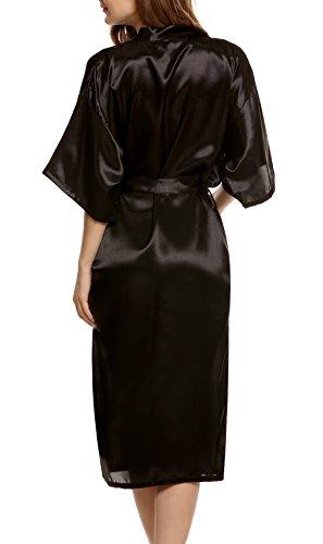 Avidlove Donna Kimono Raso Vestaglia Camice da notte con cintura, Stile Lungo Nero