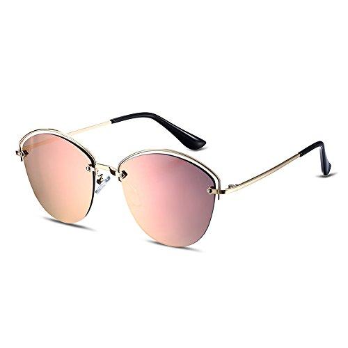 Nykkola - Lunettes de soleil en forme d'œil de chat, classiques, à monture double - Verres miroir colorés - Protection UV400, gold frame and pink lens