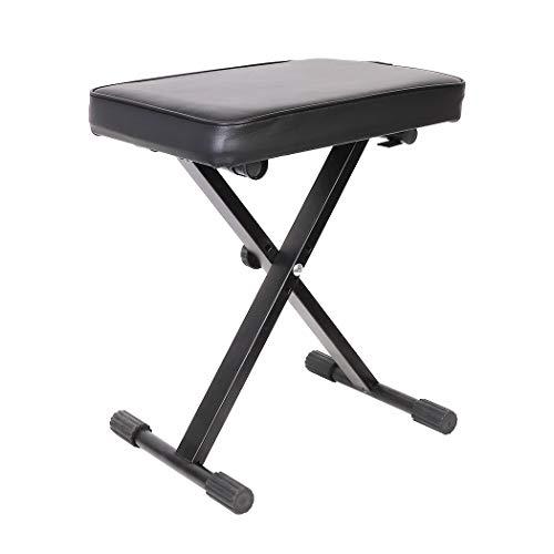 Verstellbare gepolsterte Keyboardbank Klavierbank Komfortable Artist Klavierbank Klappbarer X-Rahmen Keyboard-Hocker Sitz mit 3 Höheneinstellungen, Gewicht bis zu 176 kg - Gepolstert 3-sitz