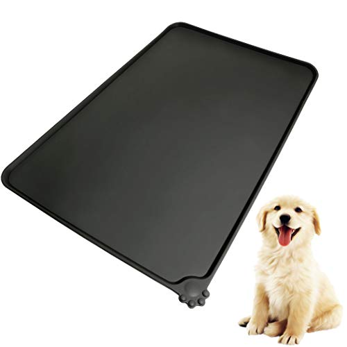 Amoer Napfunterlage für Hund Katze Futternapf Unterlage aus Sillikon Fressnapf Unterlage Matte Futterunterlage aus FDA-Lebensmittelqualität wasserfest Rutschfest ungiftig (Schwarz)