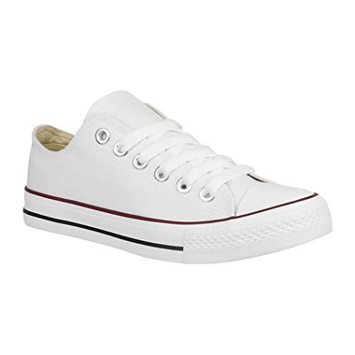 Elara Unisex Sneaker | Bequeme Sportschuhe für Damen und Herren | Low top Turnschuh Textil Schuhe White-39 (Jungen-canvas-schuhe)
