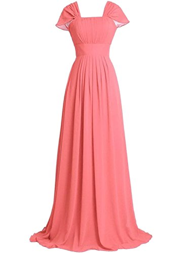 Azbro Women's Elegant Ruffled Design Maxi Prom Dress Watermelon Red