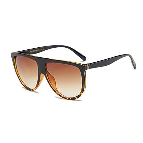 Sonnenbrille,Dairyshop Art und Weise Frauen-große Feld-Sonnenbrille Flat Top Designer Weinlese -Brille Shades New (Dunkler Leopard + Tawny)