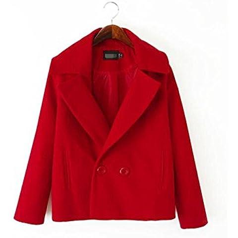 ZZHH Cappotto di lana con revers corto femminile . red