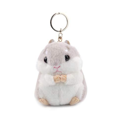 Pinhan Cartoon Plüschtier Hamster Keychain Anhänger Dame Tasche Schlüsselanhänger Schmuck Zubehör Weiblichen Tasche Anhänger Kleines Geschenk, Hellgrau -