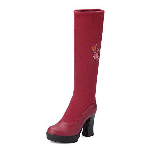 AgooLar Damen Hoher Absatz Rein Rund Zehe Blend-Materialien Ziehen auf Stiefel, Schwarz, 38
