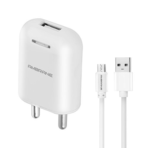 Ambrane AWC-38 2.1A Fast Wall Charger for All Mobiles, Tablets & Other Devices + Free Micro USB Cable (White)