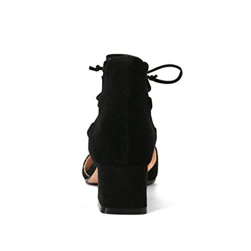Damen Sandalen Knöchelriemchen Nubukleder Einfach Geschlossen Schick Blockabsatz Bequem Atmungsaktive Rutschfest Abriebfeste Schnürsenkel Halbschuhe Schwarz