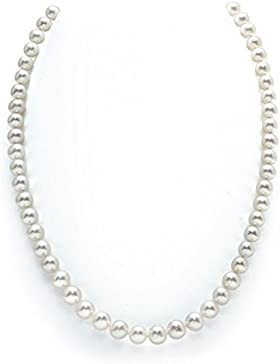 Choker-Halskette aus Gold 14 K, mit gezüchteten Süßwasserperlen, Weiß 6,0 - 6,5 mm, AAAA-Qualität, 40,5 cm