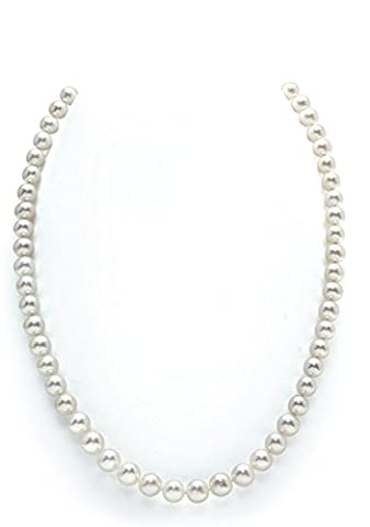 14K Gold 5.0-5.5mm White Freshwater Cultured Pearl Necklace - AAAA