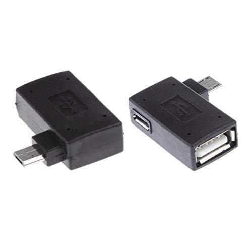 Myriad Choices 2 90 Grad Links & Rechts abgewinkelt Micro-USB 2.0 OTG Host Adapter mit USB Power für Handy & Tablet -