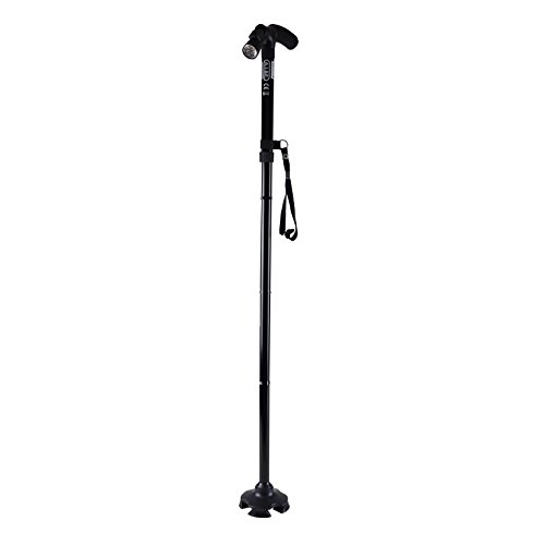 Gehhilfe Walkingstick + LED Lampe 85-97cm ausziehbar Stock Wanderstock Senioren ABS Fuss
