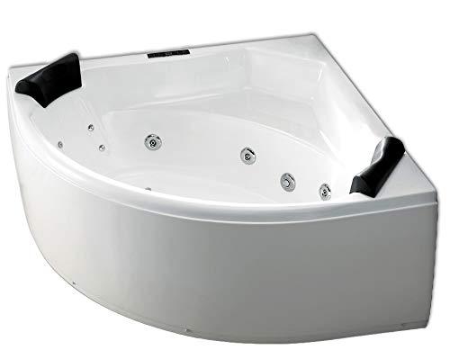 Whirlpool Badewanne Karibik Profi MADE IN GERMANY 155 x 155 cm mit 25 Massage Düsen + LED Unterwasser Beleuchtung / Licht + Heizung + Ozon Desinfektion + OHNE Armaturen runde Eckbadewanne