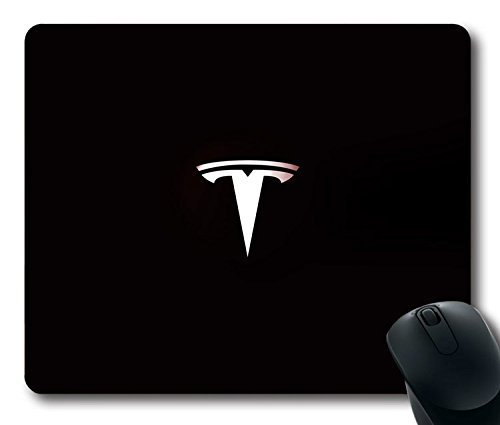 Custom Gaming Mouse Pad with Tesla Motors Logo Art Non-Slip Neoprene Rubber Standard Size 9 Inch(220mm) X 7 Inch(180mm) X 1/8 Inch(3mm) Desktop Mousepad Laptop Mousepads Comfortable Computer Mouse Mat