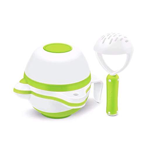 Baby Grinding Bowl Manuelle Anti-Rutsch-Babynahrung Masher Maker Waschbar NahrungsergäNzungsmittel Grinder-Tool-Set FüR Kleinkinder Kleinkinder,Green -