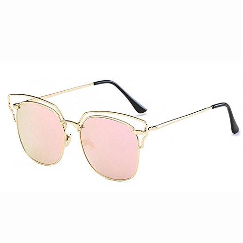 CX Bunte Sonnenbrille-großer Rahmen-Metallaußensonnenbrille-große Glas-zufälliger Radfahrenblick-bunter Ozean,Pink-OneSize