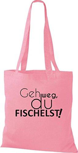 Typo Di Stoffa Di Cotone Tascabile Di Stoffa Andate Via, Fischelst, Colore Rosa Rosa