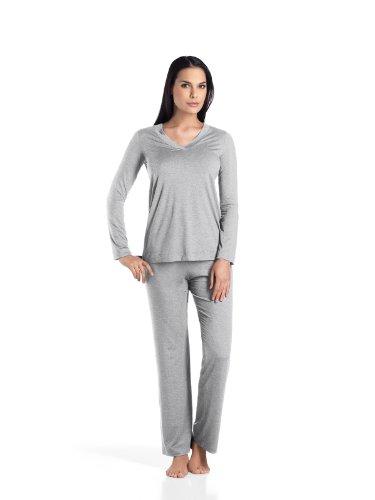 Hanro Damen Zweiteiliger Schlafanzug Champagne Nw Grau (grey melange 0958)