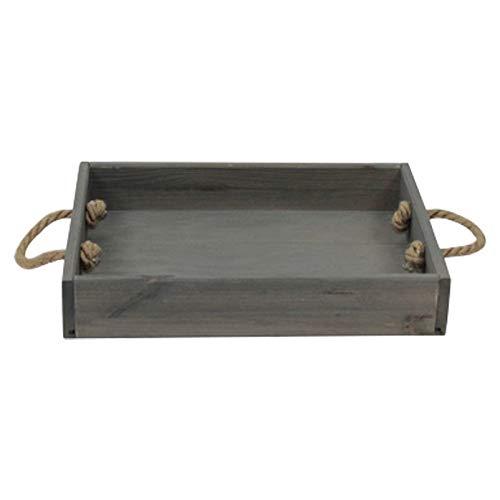 Unbekannt Holz-Tablett grau mit Seilgriffen, ca. 38x28x6,6 cm