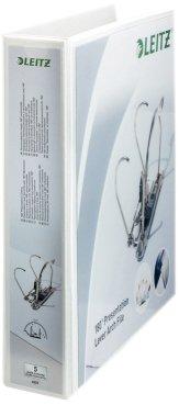 Leitz 42250001 Präsentations-Ordner (A4 Überbreite, Rückenbreite 8 cm, zwei Außentaschen, graupappe, mit PP-Folienüberzug) weiß