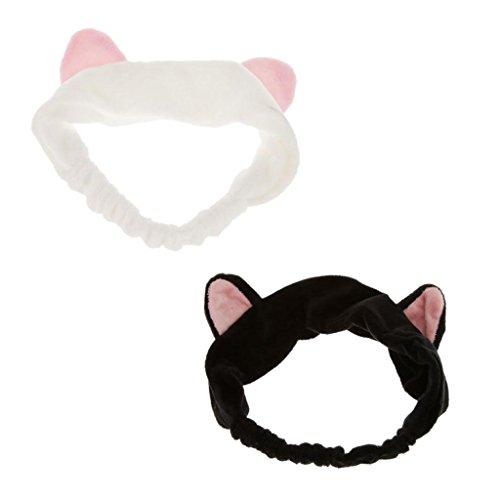 Sharplace (2 Stück Packung) Katzenohren Haarband Stirnband Haarreifen, ideal beim Gesicht zu waschen, Make up, Kosmetik, Damen Mädchen Geschenkidee