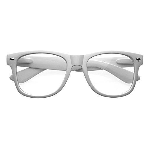 Arcton® Weiß Retro übergroßen Stil Rahmen-Nerd Geek Glasses