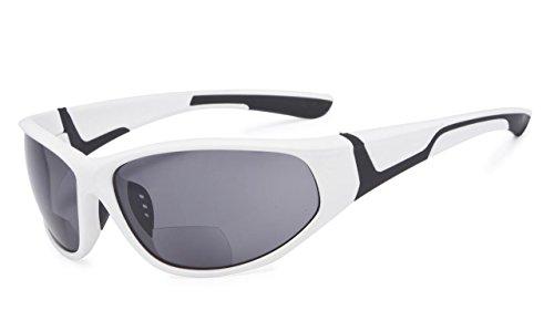 Eyekepper Bifokal Sonnenbrille mit TR90 und Gummirahmen - Sport Stil Sonnenscheinleser(Weiß, 3.00)