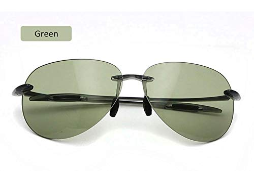 LKVNHP New Coole randlose Sonnenbrille Frauen männer hohe qualität Ultraleicht tr90 runde Sonnenbrille Nylon objektiv Sommer Brille uv400grün