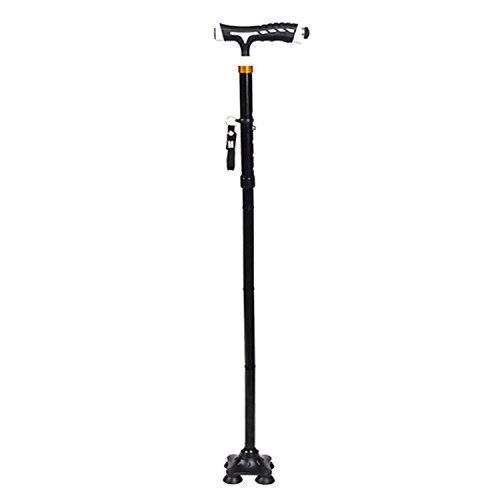 NSHK Faltbare Cane Rutschfeste Multifunktionale Vierkant Krücken Retractable Walking Stick Mit LED Taschenlampe Für Senioren Reisen Klettern Gesundheit - Quad Cane Faltbare