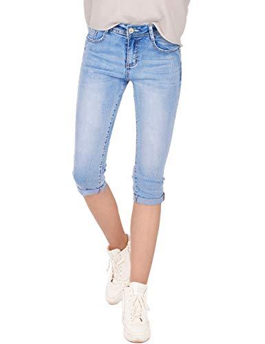 Fraternel Damen Jeans Hose Shorts Capri Knielang Stretch Hellblau L / 40 -