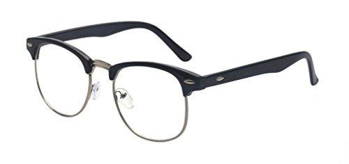 Outray Retro 50er Jahre Classic Nerd Brille, Vintage Unisex Halbrahmen Hornbrille, Clubmaster Stil Rockabilly umrandeten kläre Linse Streberbrille Schwarz/Silber