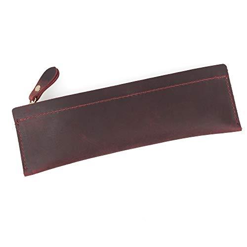 WOOWA Stifteetui, echtes Leder, klein und dünn, Vintage, handgefertigt, mit Reißverschluss, Retro-Schreibwaren-Aufbewahrungstasche dunkelrot