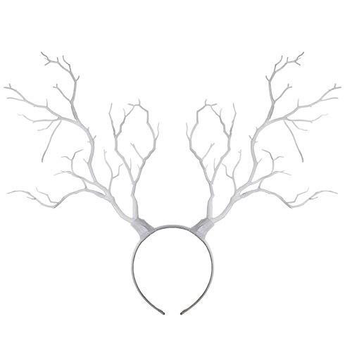 Frecoccialo Damen/Herren Baum Zweige Geweih Stirnband Weihnachten Cosplay Party Fotoshooting Rentier Haarband (Weiß, Eine ()