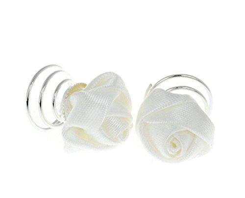 Unbekannt 12 Stück Curlies Haarspiralen Haarschmuck Blume Weiß Rose Hochzeit Kommunion Braut Taufe Rosen