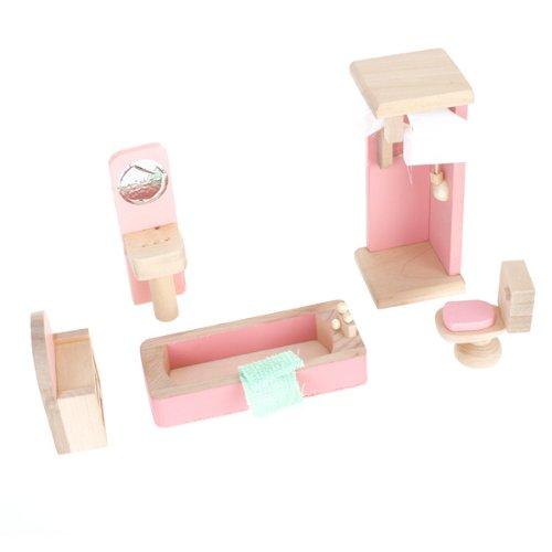 Mobili Dollhouse Di Legno Set Da Bagno Giocattolo
