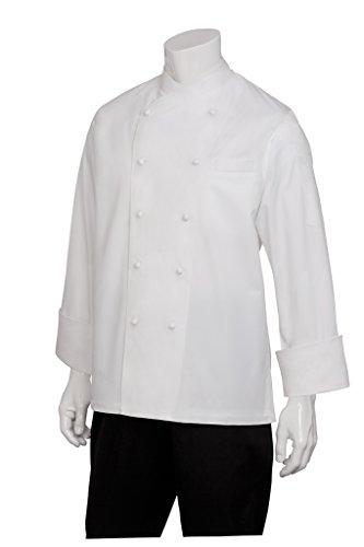 Chef Works eccw-wht Milan cotone egiziano Chef appendiabiti, colore: bianco, misura 58, con filetto bianco da chef Works