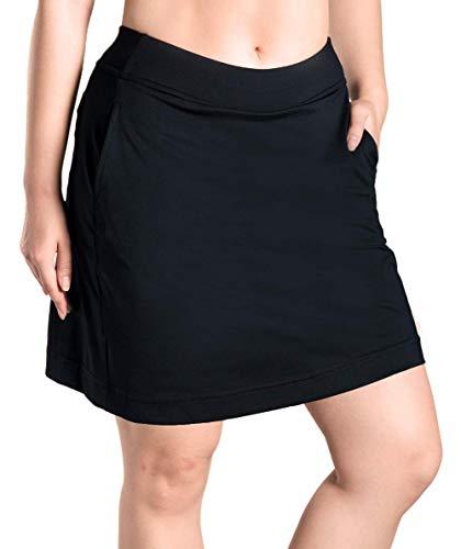 Yogipace Damen 4 Taschen LSF 50+ 43,2 cm Langer Laufrock, Sport-Golfrock mit Tennisball-Taschen, integrierte Shorts, Damen, Black(4 Pockets on Skorts), S-Waist(27
